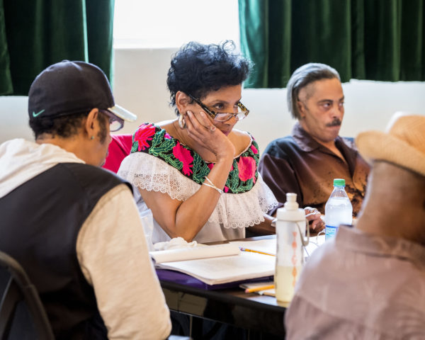 "Director Phylicia Rashad on the first day of rehearsal for August Wilson's ""Ma Rainey's Black Bottom"" at Center Theatre Group/Mark Taper Forum (David Blackwell in background). Photo by Craig Schwartz."