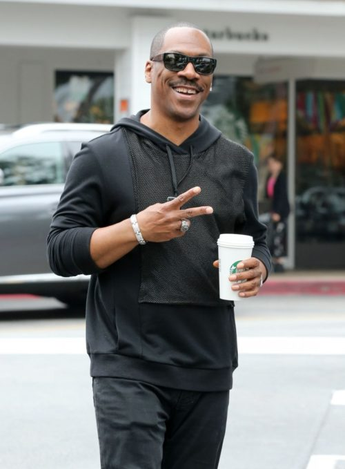 "Exclusive... 51753971 ""Tower Heist"" star Eddie Murphy makes a morning Starbucks run on May 25, 2015 in Beverly Hills, California. Eddie's long awaited ""Beverly Hills Cop 4"" film will be waiting a little longer, as it was recently taken off of Paramount's release schedule. FameFlynet, Inc - Beverly Hills, CA, USA - +1 (818) 307-4813"