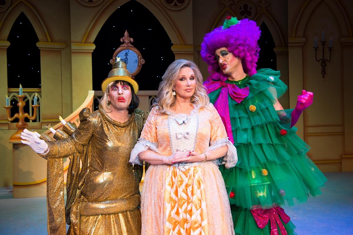 (L- R) Ben Giroux, Morgan Fairchild and Josh Adamson in A CINDERELLA CHRISTMAS at The Pasadena Playhouse. Photo credit: Philicia Endelman