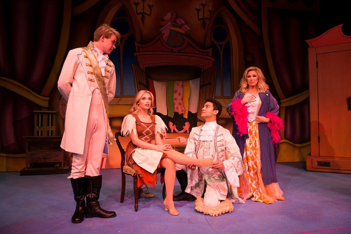 (L- R) Kenton Duty, Davi Santos, LaurenTaylor and Morgan Fairchild in A CINDERELLA CHRISTMAS at The Pasadena Playhouse. Photo credit: Philicia Endelman