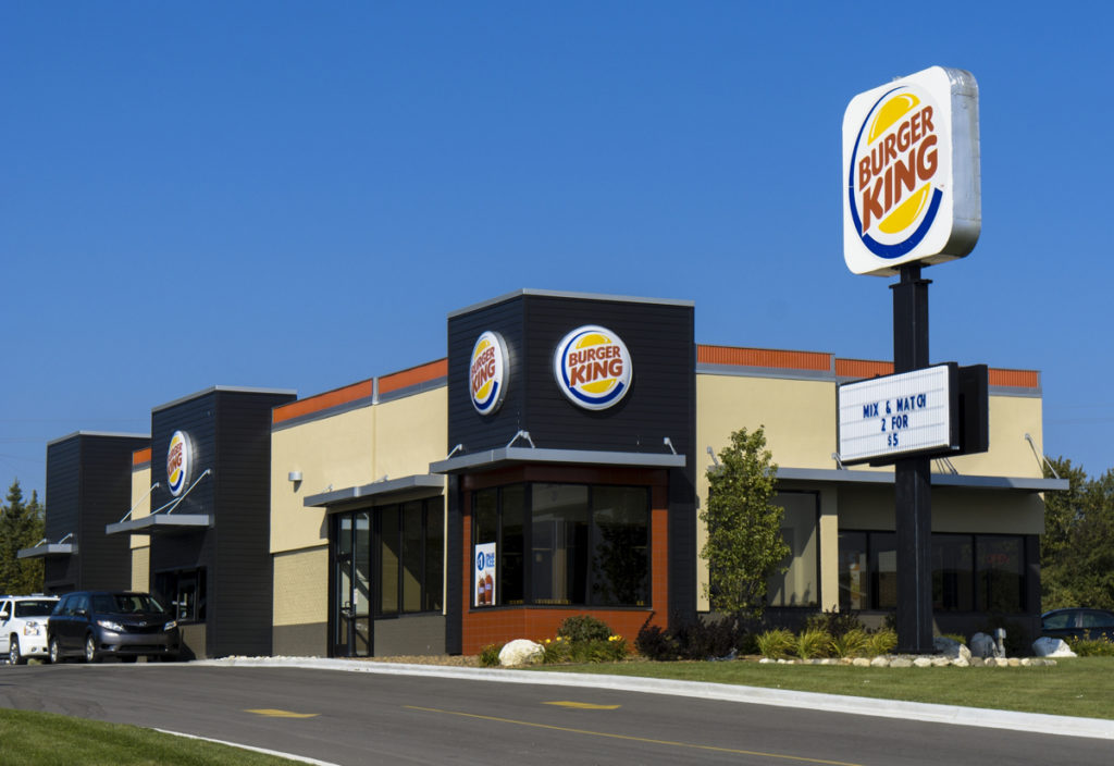 St. Ignace, Michigan, USA - September 28, 2014: People at a Burger King location in St. Ignace, Michigan.