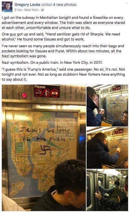 swastika on NYC train