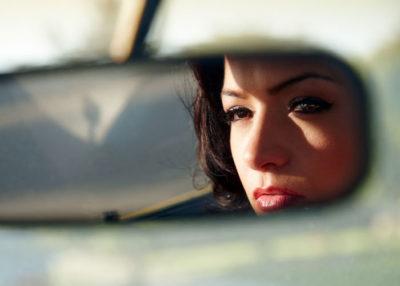 woman, rear view mirror