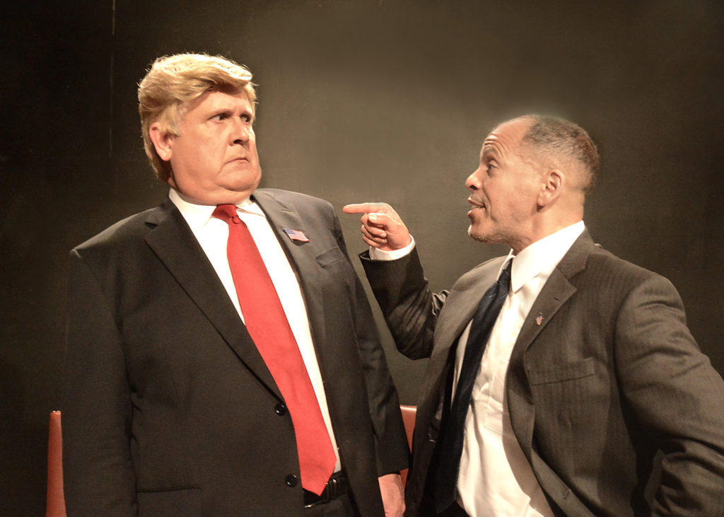 "Harry S. Murphy as Donald Trump and Joshua Wolf Coleman as Barack Obama in ""Transition"" at The Lounge Theatre, Photo credit: Ed Krieger."