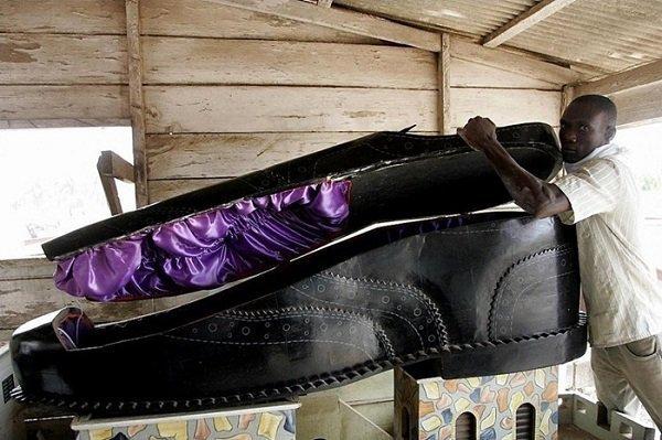 funerals, shoe casket