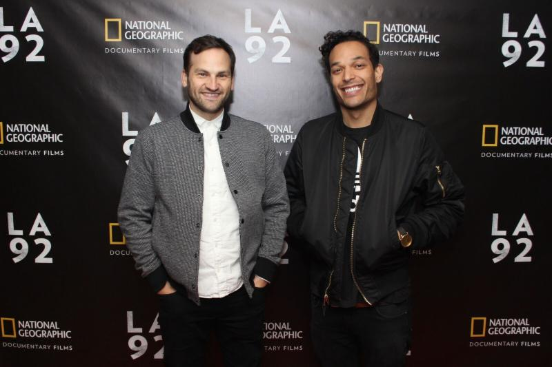 Bottom: Co-directors Dan Lindsay and TJ Martin arrive at the AMC River East 21 in Chicago on April 25,2017. Photo Credit: Christian Demar for National Geographic