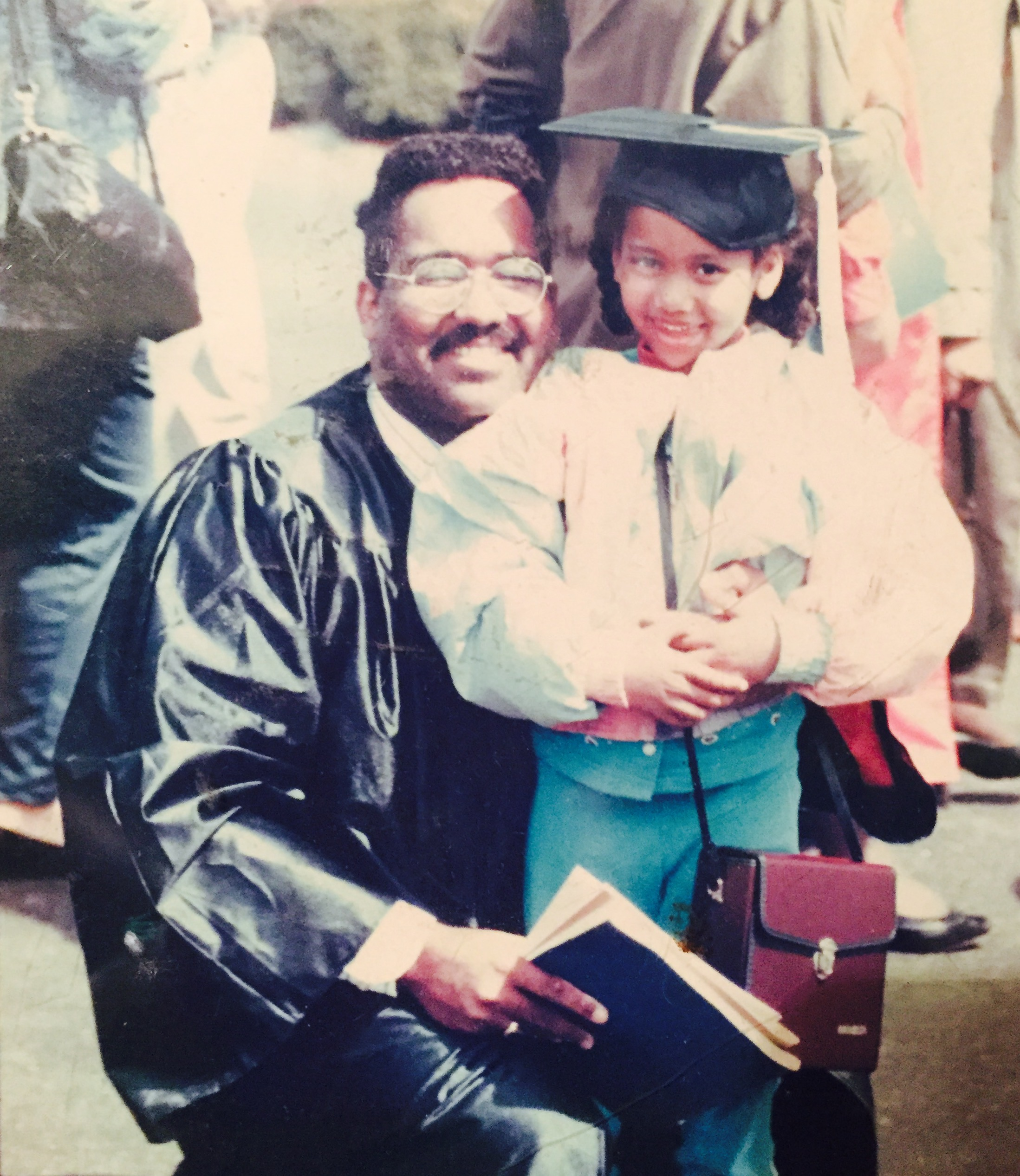 "Me and my eldest ""little one,"" Janet circa 1993 at that college graduation!"