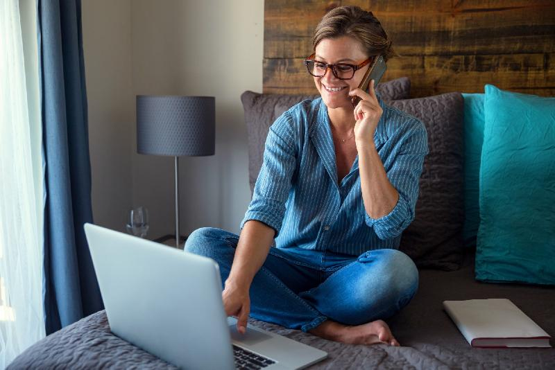 Woman working from home on computer